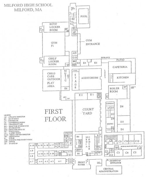 school floor. Milford High School Floor Plan P
